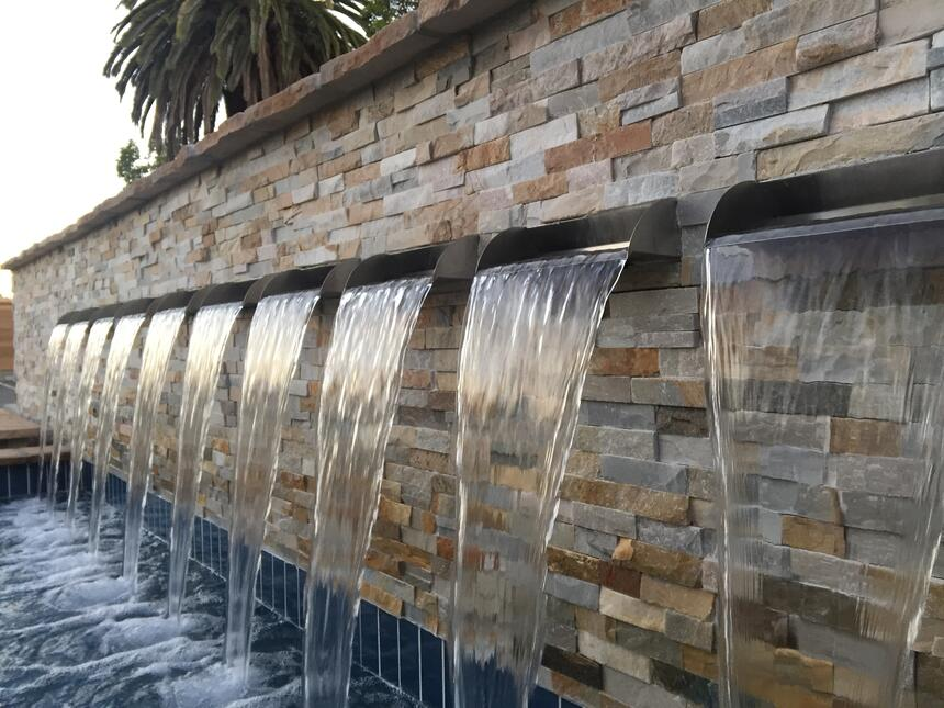 water falling from a water feature