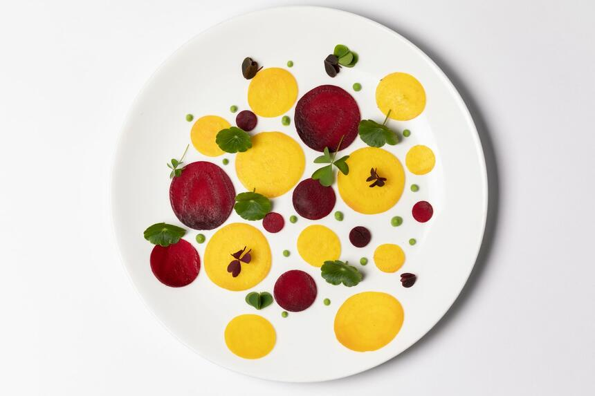 beautiful yellow and red sauce on a plate