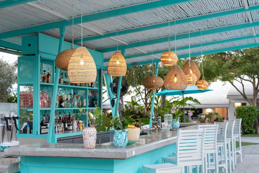 Pool bar with hanging lights