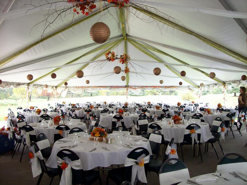 outdoor tent with dining tables