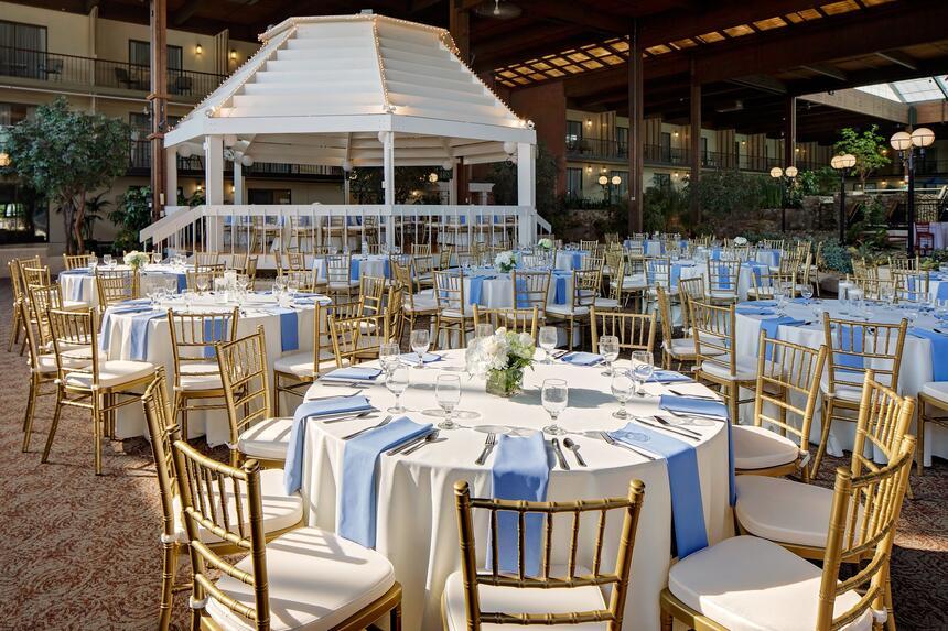 wedding tables in atrium of hotel
