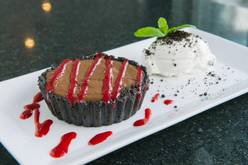 Chocolate pie with ice cream