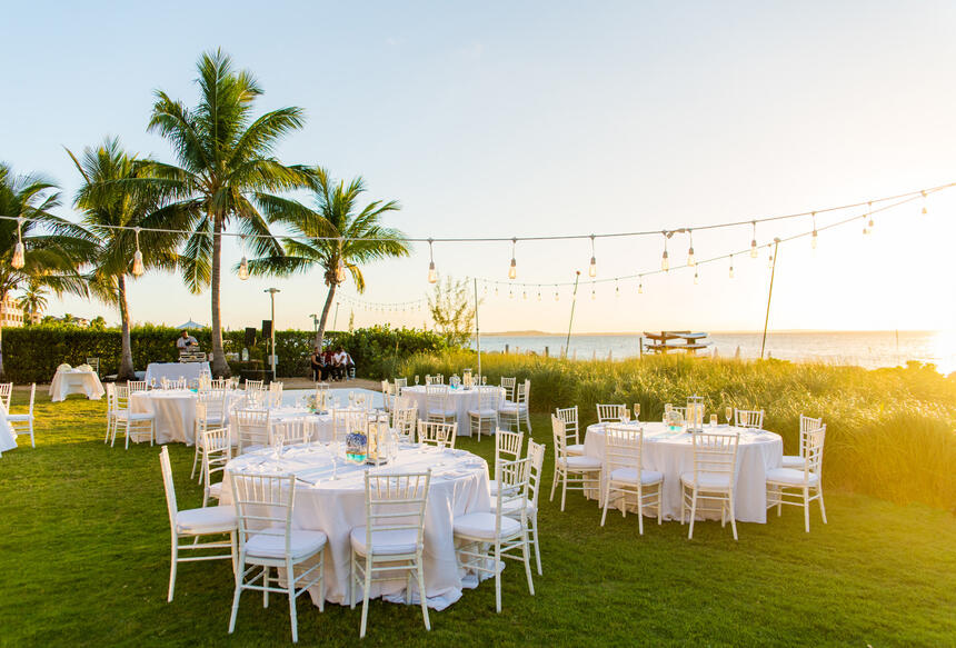 Table setup for a outdoor event at the Somerset On Grace Bay
