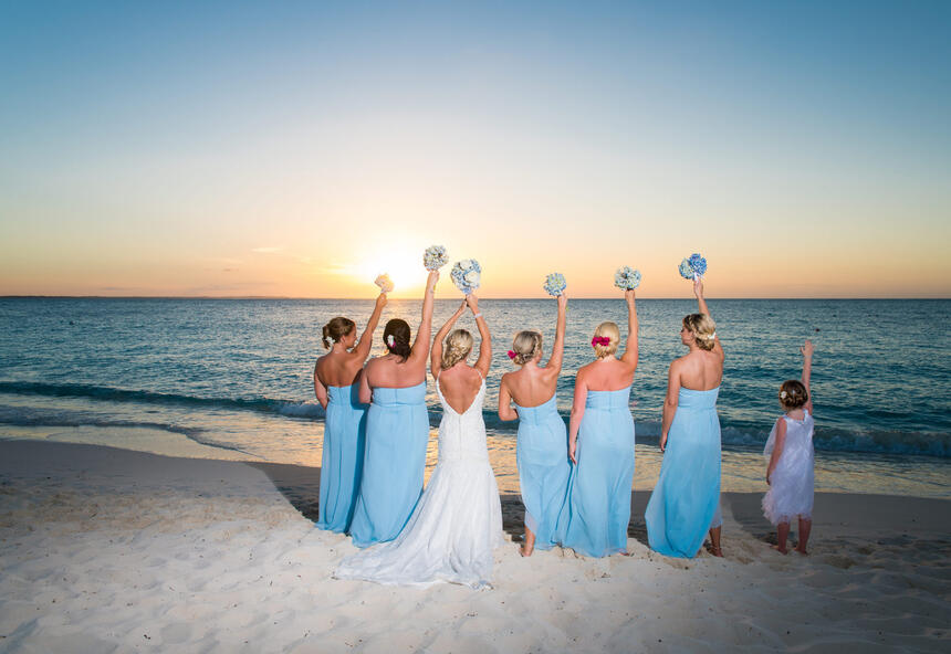 Bride and Bridesmaid at the beach near Somerset On Grace Bay