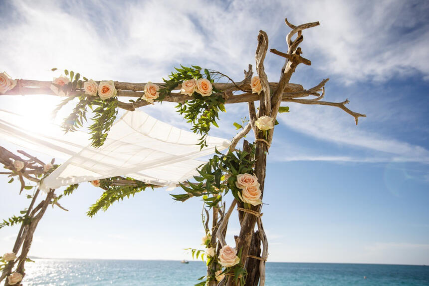 Beach wedding decoration at The Somerset On Grace Bay