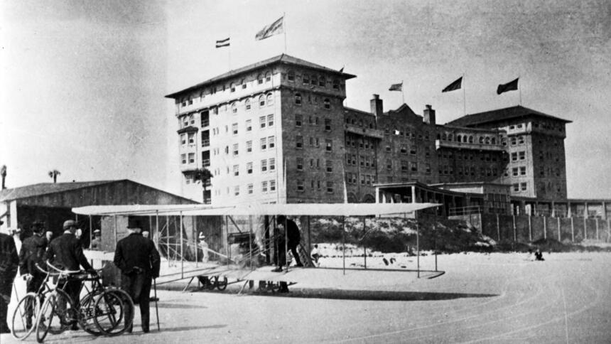 historic black and white picture of original plaza resort