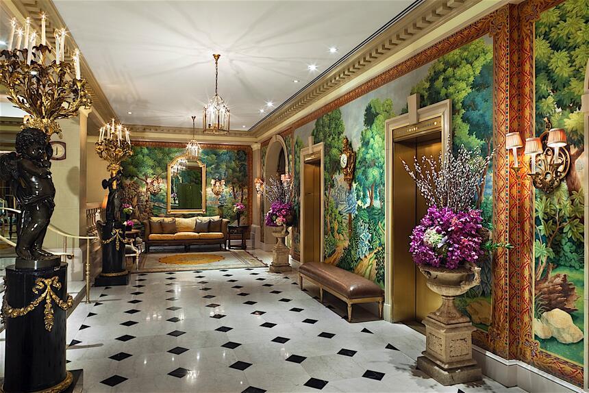 a hallway in a hotel