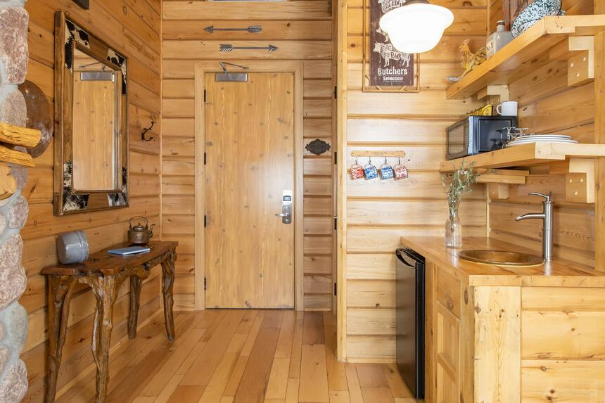 kitchenette in log cabin with sink and mini fridge, wood walls a