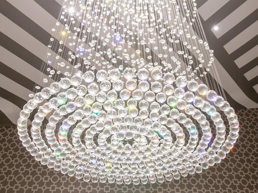 swarovski crystal chandelier hanging down presidential suite