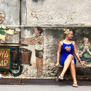 A Penang mural of a soya milk stall in the old days