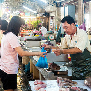 penang local wet market selling meat and seafood