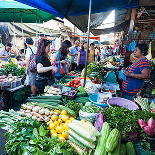 penang local day market selling vegetables