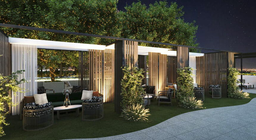 Sofa sets in outdoor Terrace Lounge Night at Dream Doha.