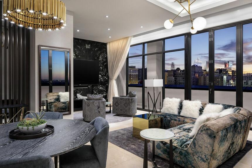 Beautiful living room with city view at Dream Hollywood.