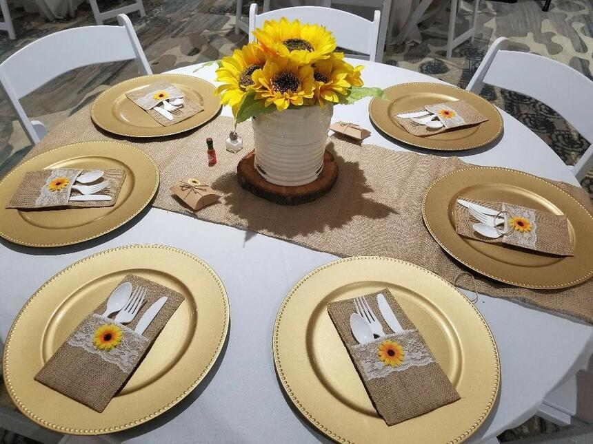 Dining table at Palmera Inn and Suite decorated for a Wedding