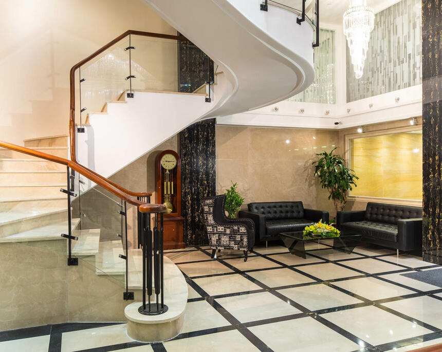 Lobby area next to stair case at Empress Hotel
