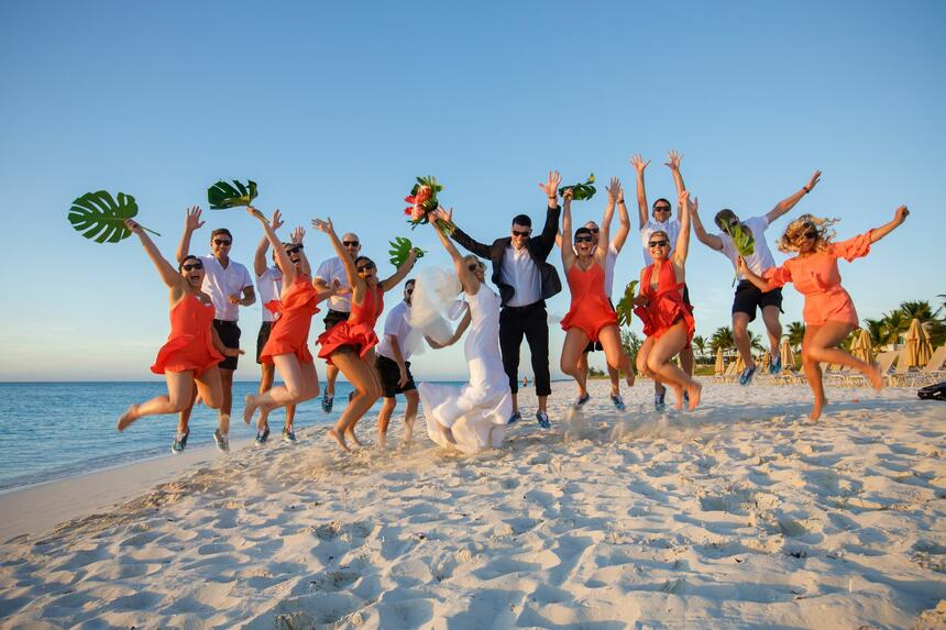 Wedding group at the beach near Somerset On Grace Bay