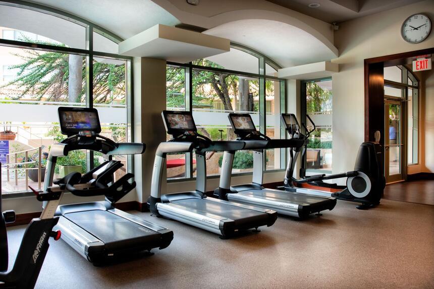 four treadmills in fitness center