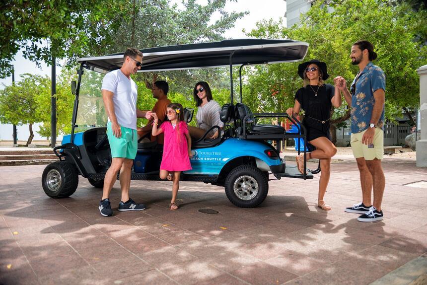 family boarding golf cart