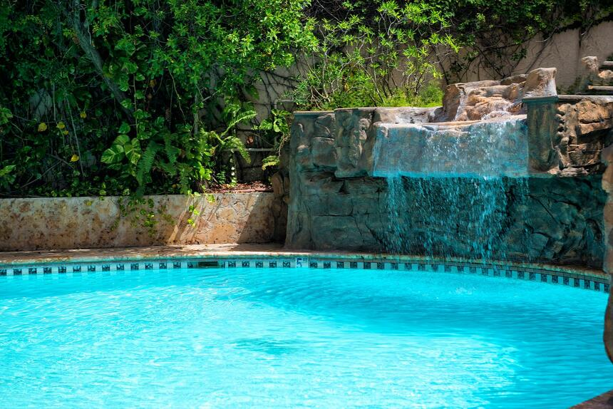 outdoor pool with water feature