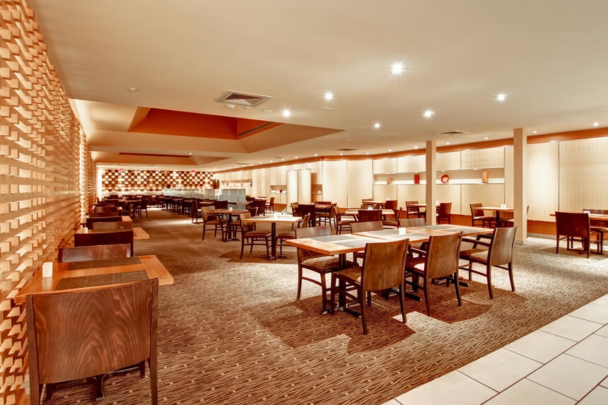 go to breakfast and conference area at Inn of Waterloo