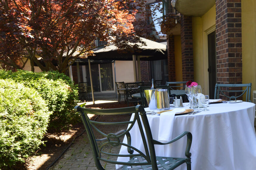 dine table in the garden with trees at Inn of Waterloo