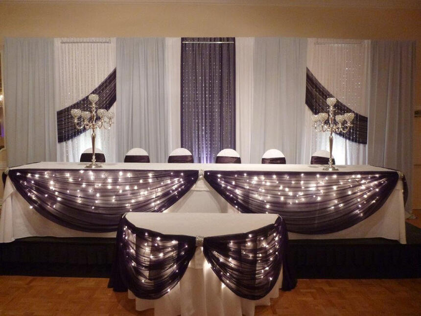 decorated wedding reception at The Inn of Waterloo