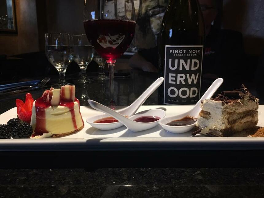 Desserts and wine served in the Event Room at Inlet Tower