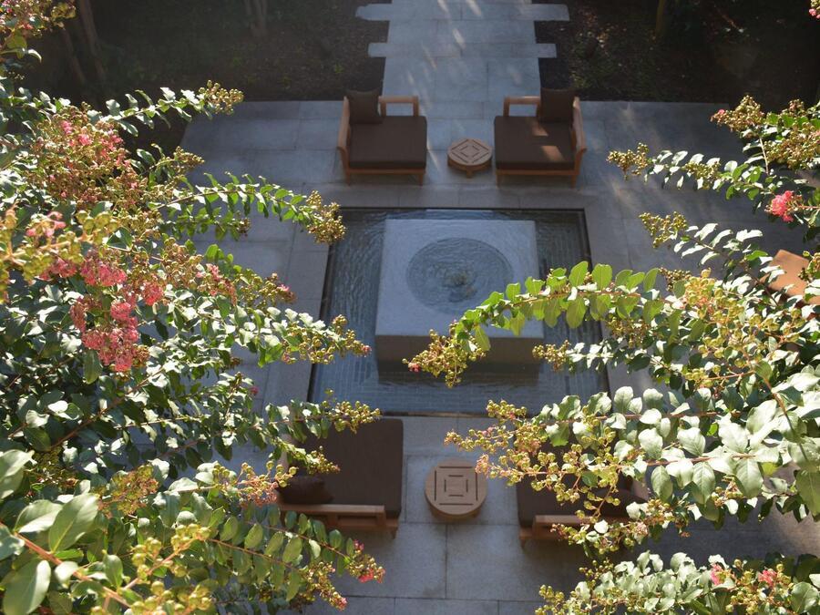 birds eye view of courtyard of hotel