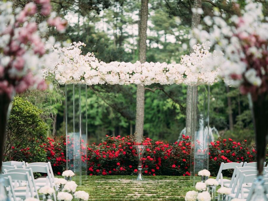 Ceremony Law with Clear Arbor up close - Ginny Corbett