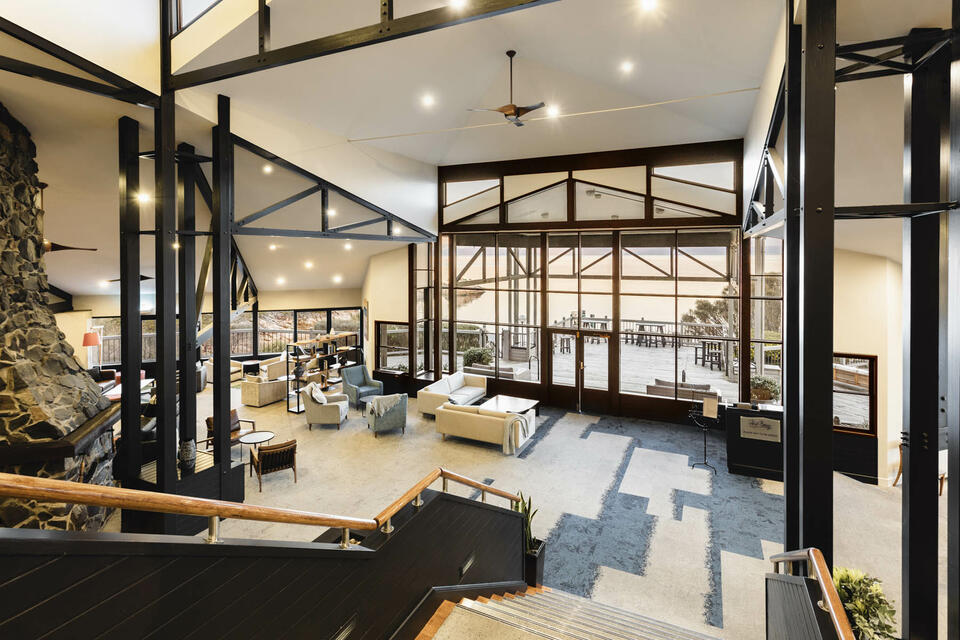 Main Lobby with the stairs at Freycinet Lodge