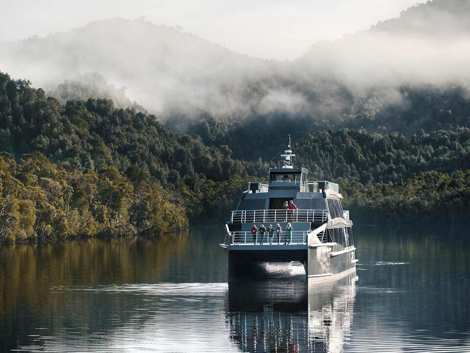 Cruise ship at Gordon River near the Strahan Village