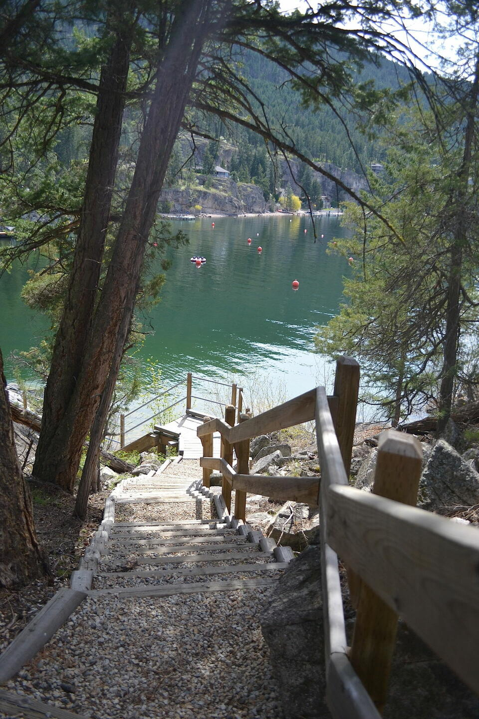 Pathway to the dock near Outback Lakeside Vacation Homes