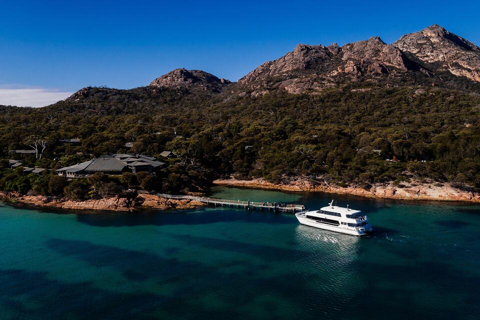 Ship on the bay near the jetty at  Freycinet Lodge
