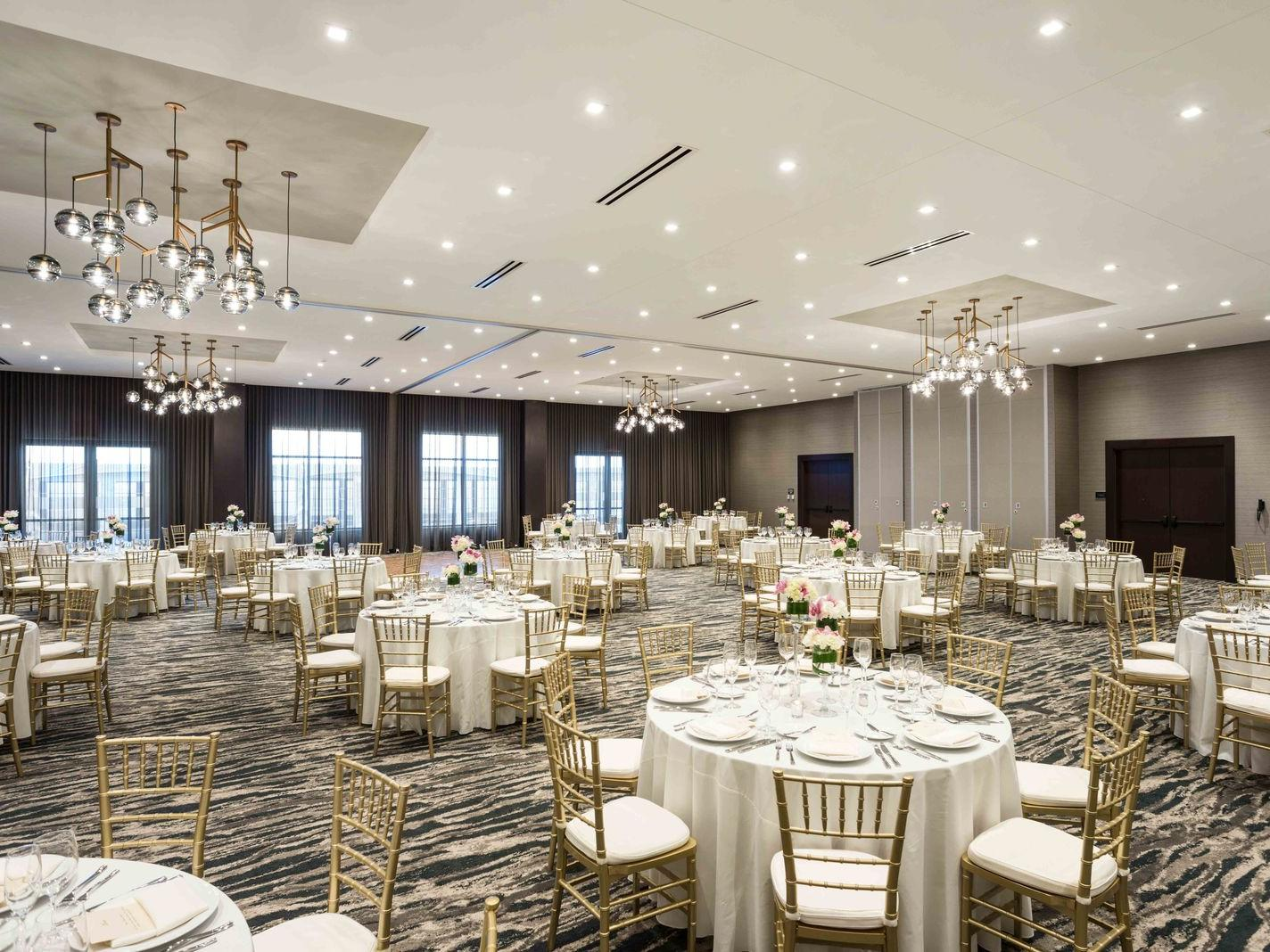 spacious event venue with round tables