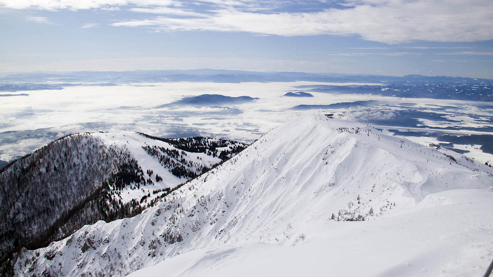 Mountains during winter in Ljubljana