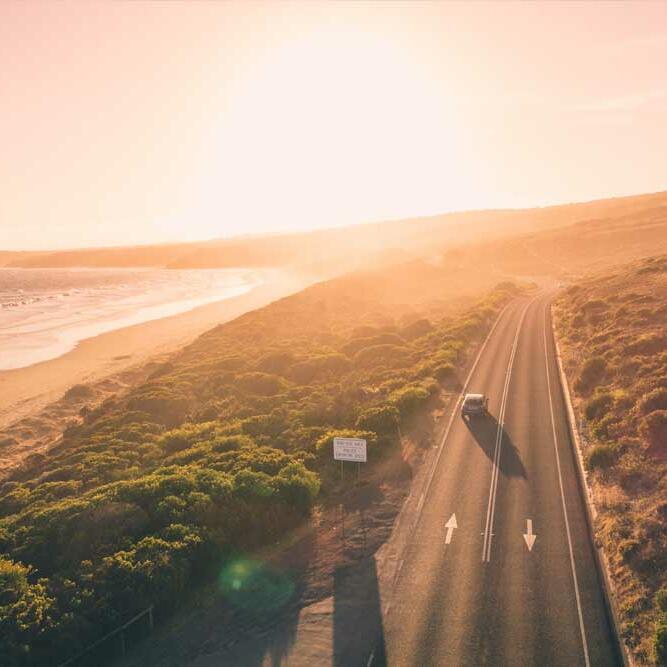 Highway road near the beach near Be Fremantle