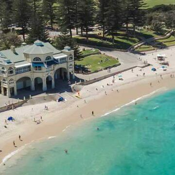 Aerial view of the beach near Be Fremantle
