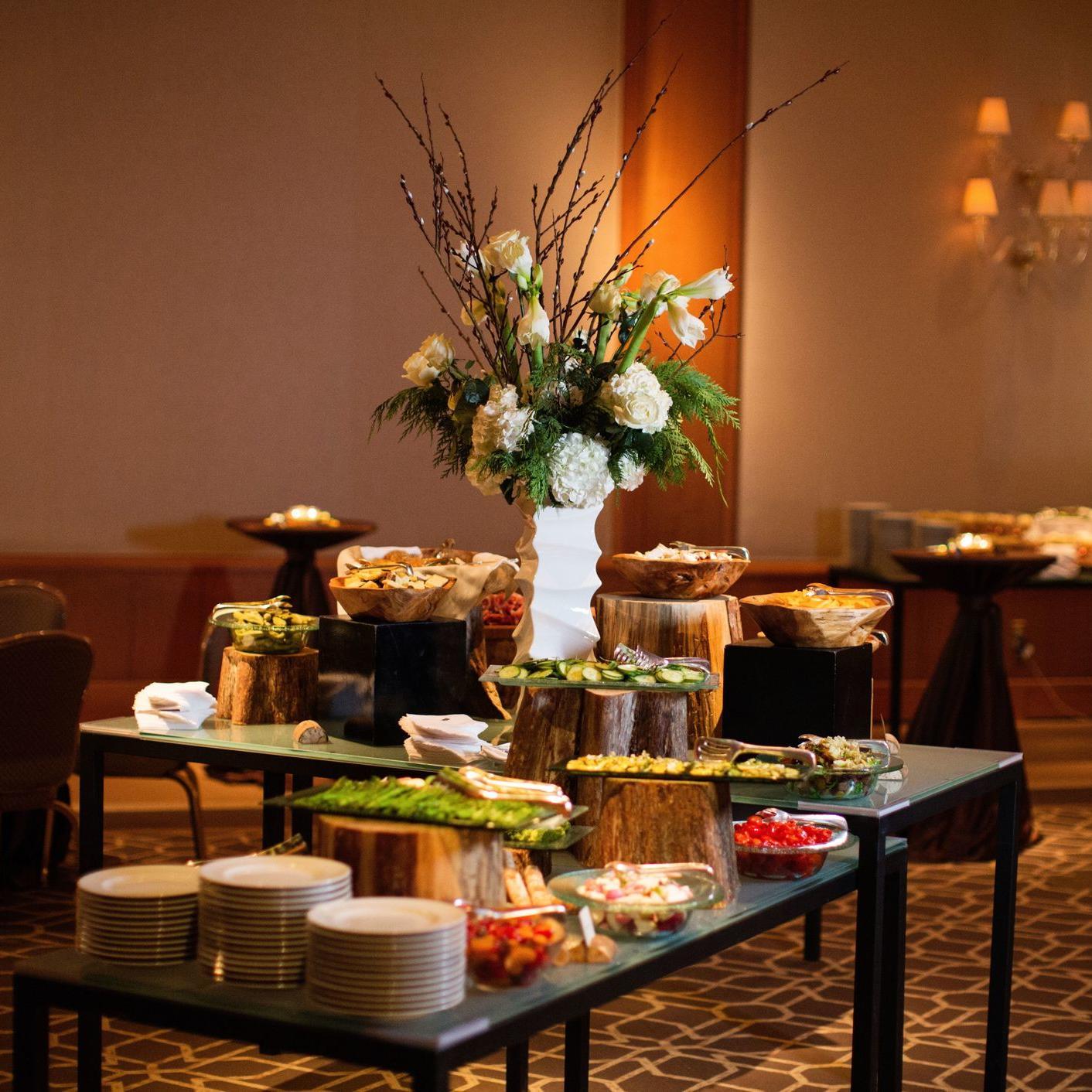 buffet set up in ballroom area