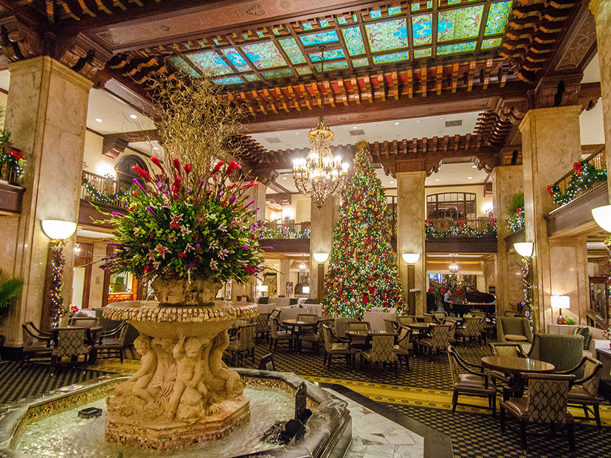 Peabody Hotel Lobby Decorated For Christmas