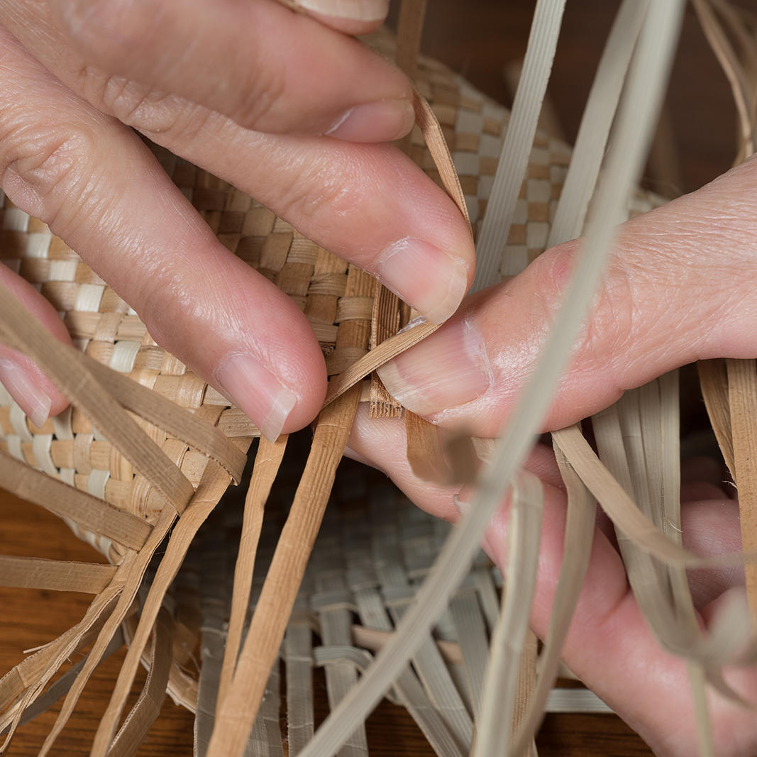 weaving a basket