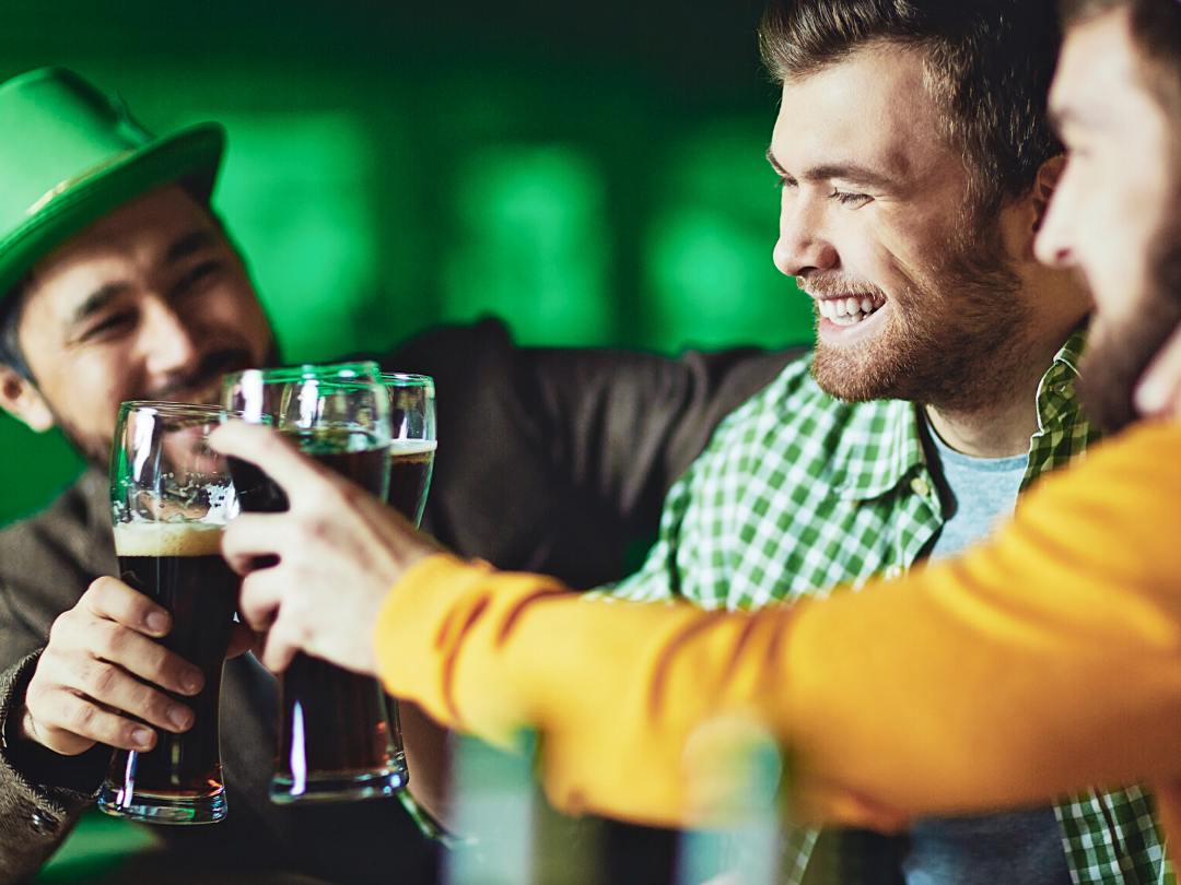 Young Men Celebrating St. Patrick's Day at the bar