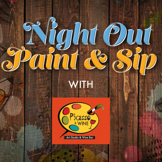 Night Out Paint and Sip Logo and Picasso and Wine Logo