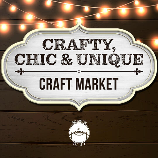 Crafty, Chic and Unique Craft Market logo on wood background