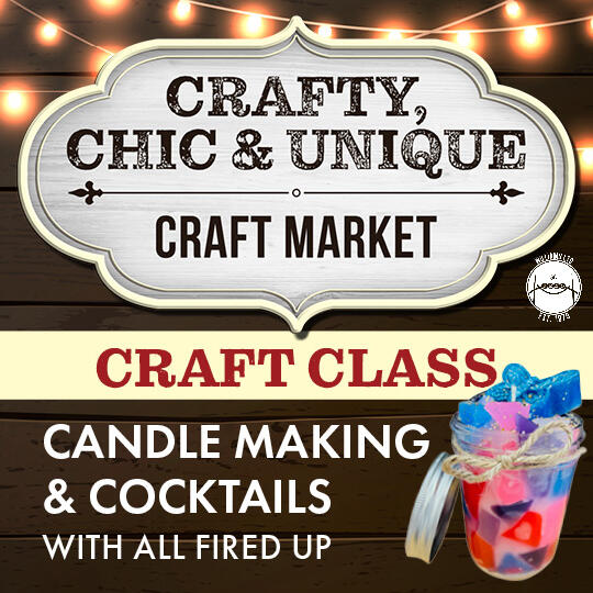 Colorful Candle with Crafty, Chic and Unique Craft Market logo