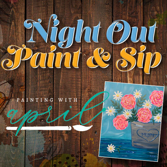 Night Out Paint and Sip Logo and Painting with April Logo