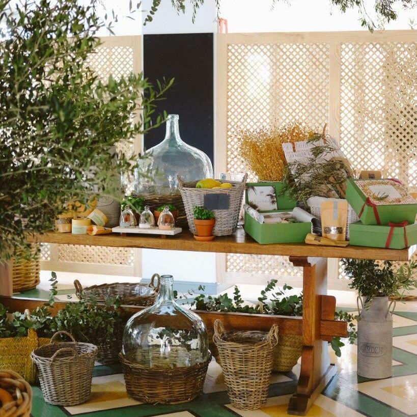 Table with different herbs at El Olivar restaurant at Marbella Club Resort