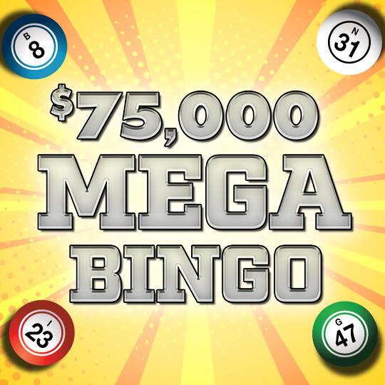 $75,000 Mega Bingo Logo and Bingo Balls