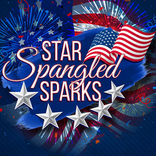 Star Spangled Sparks Logo with Fireworks in background