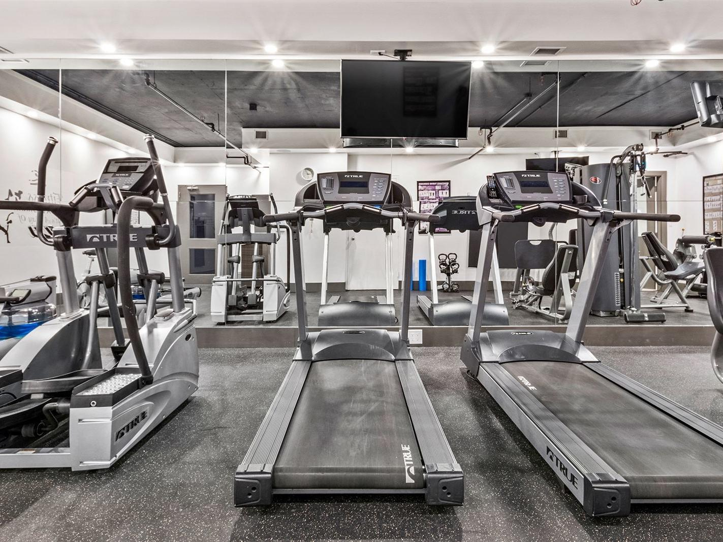 treadmills in fitness centre